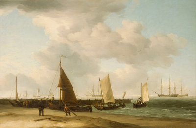 A beach scene with man-of-war in the distance by Charles Brooking - print