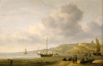 A beach scene near Scheveningen by Charles Brooking - print