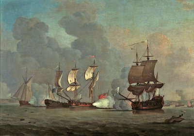 An English privateer engaging a French privateer by Samuel Scott - print