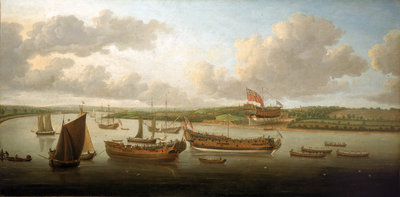 Launch of a 4th-rate on the river Orwell by John Cleveley, the Elder - print