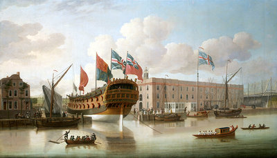 'St Albans' floated out at Deptford, 1747 by John Cleveley, the Elder - print