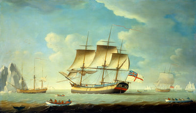 A whaler and other vessels in a light breeze by John Askew - print