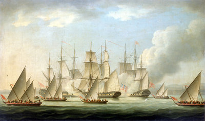 Attack on HMS 'Aurora' by pirates, 1812, end of the action by Thomas Buttersworth - print