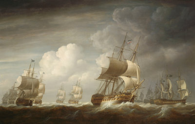 A fleet of East Indiamen at sea by Nicholas Pocock - print