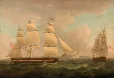 A merchantman off Dover by Thomas Whitcombe - print
