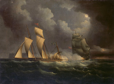 A smuggling lugger chased by a naval brig by unknown - print