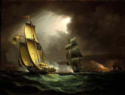 A smuggler chased by a brig by Thomas Buttersworth - print