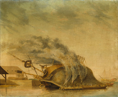A ship hove down and burning off by Gabriel Bray - print