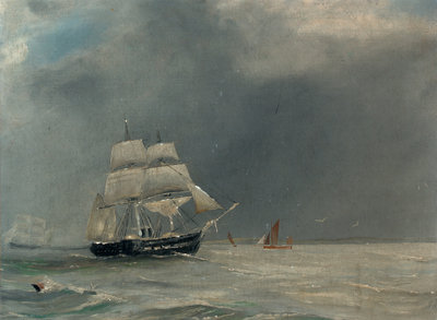A steam paddle frigate by unknown - print