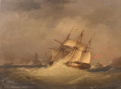 A frigate off a rocky coast by Nicolas Matthew Condy, the Younger - print