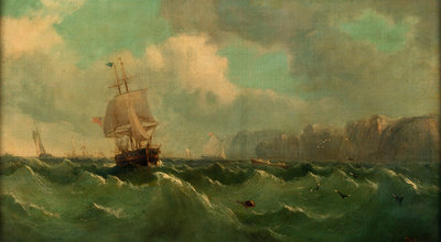 A ship off a high coast by John James Wilson - print