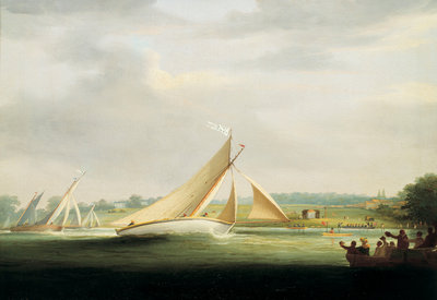 Yachts of the Cumberland Society racing on the Thames, circa 1815 by William Havell - print