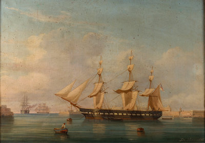 A frigate at Malta by A. de Simone - print