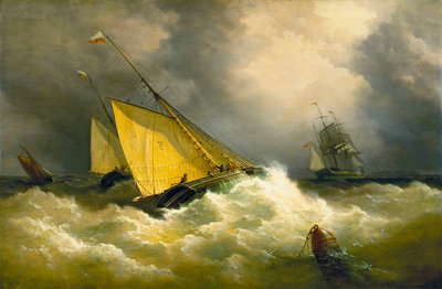 First come, first served. A pilot cutter racing to a ship by Richard Brydges Beechey - print