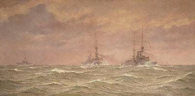 Battleships of the 3rd Squadron, 1912 by Alma Claude Burlton Cull - print