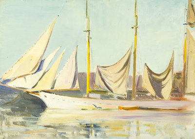 A three-masted schooner by John Everett - print