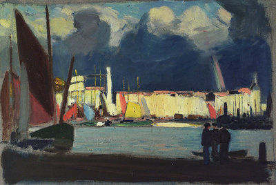 Harbour scene by John Everett - print