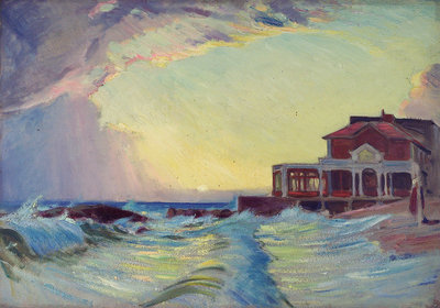 A beach scene with a restaurant by John Everett - print