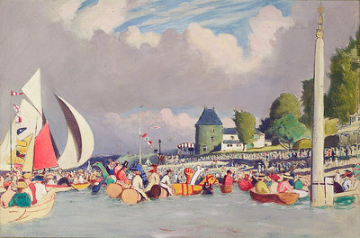 The Royal Yacht Squadron Club House, Cowes, at regatta time by John Everett - print