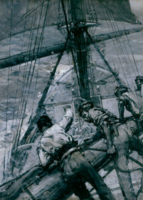 Heavy weather in the Channel: stowing the mainsail by Frank William Brangwyn - print
