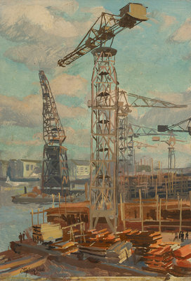 Belfast cranes by Stephen Bone - print
