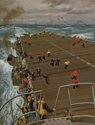 Clear Flight Deck: On board an aircraft carrier by Stephen Bone - print