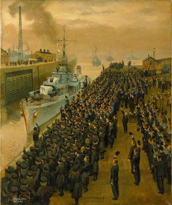 Arrival of second escort group of sloops at Liverpool Fine Art Print by Stephen Bone