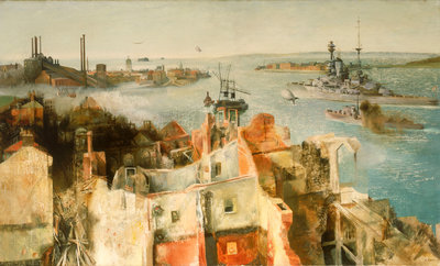 HMS 'Revenge' leaving harbour by Richard Ernst Eurich - print