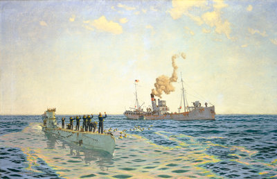 Surrender of U-111 to the trawler 'Lady Shirley' by Charles Pears - print