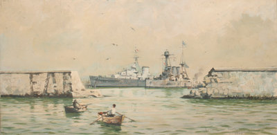 The Greek cruiser 'Averoff' at Piraeus by Rowland John Robb Langmaid - print