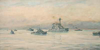The Greek cruiser 'Averoff' and escorts by Rowland John Robb Langmaid - print