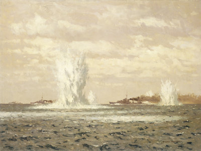 Destroyers dropping depth charges by Norman Wilkinson - print
