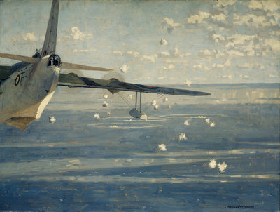 A Sunderland attacking a wolf pack by Norman Wilkinson - print