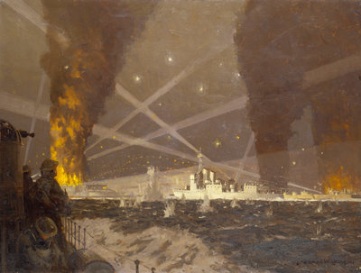 HMS 'Campbeltown' at St Nazaire, 27 March 1942 by Norman Wilkinson - print