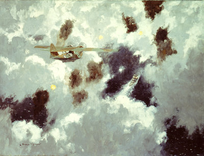 A Catalina flying boat sighting the 'Bismarck', 20 May 1941 by Norman Wilkinson - print