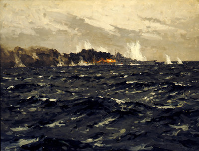 End of the 'Bismarck', 27 May 1941 by Norman Wilkinson - print