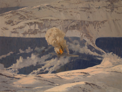 Barracudas bombing the 'Tirpitz', 3 April 1944 by Norman Wilkinson - print