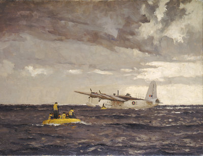 A Sunderland flying boat rescuing the crew of a Liberator by Norman Wilkinson - print