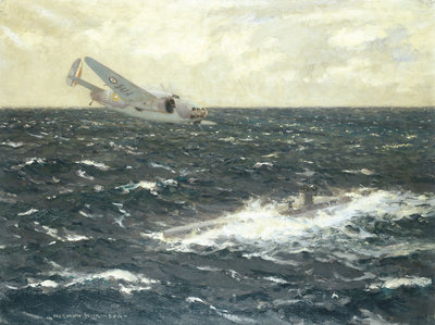 Enemy submarine surrendering to a Hudson, 20 August 1941 by Norman Wilkinson - print