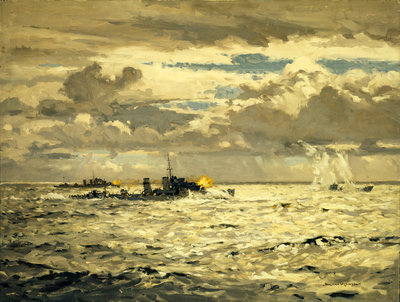 A destroyer sinking a submarine by Norman Wilkinson - print