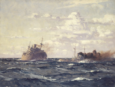 A rescue tug approaching a steamship by Norman Wilkinson - print