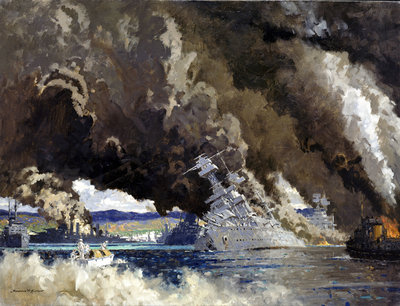 Japan signs her own death warrant: attack on Pearl Harbour, 7 December 1941 by Norman Wilkinson - print