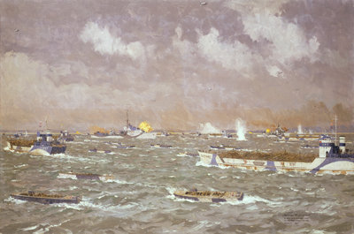 D-Day: landing craft going in to the beaches, 6 June 1944 by Norman Wilkinson - print