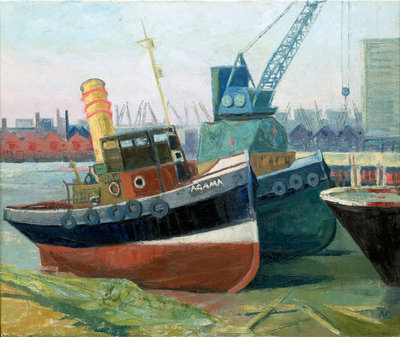 The tug 'Agama' at Greenwich by Anne Christopherson - print