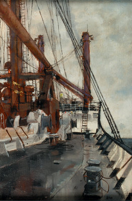 Deck scene on board a cargo liner by Cecil Peter Knox - print