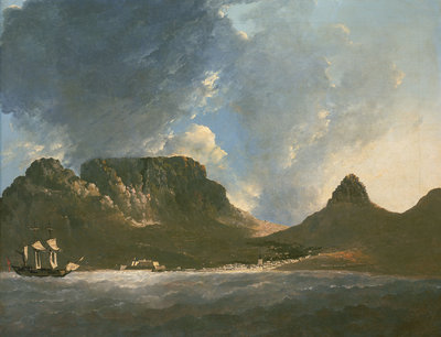 A View of the Cape of Good Hope, taken on the spot, from on board the 'Resolution' by William Hodges - print