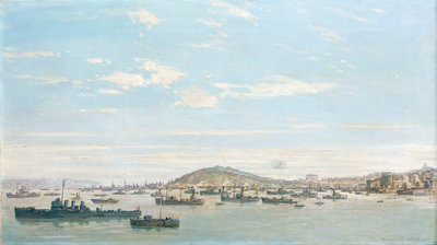 Battleships at Falmouth, 1940 by Charles Ernest Cundall - print