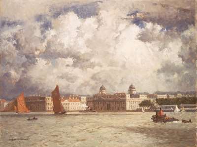 Barges off Greenwich by Norman Wilkinson - print