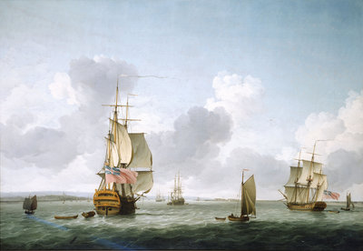 A two-decker and a frigate running into the Thames off Gravesend by Charles Brooking - print