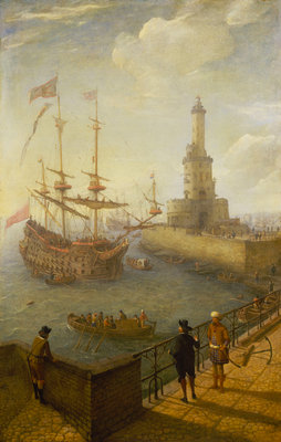 A Spanish three-decker at anchor off Naples by Abraham Willaerts - print